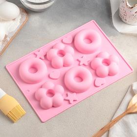 купить Форма для выпечки Доляна Немецкий кекс. Пончик и Ромашка, 25,517,5 см, 6 ячеек, цвет МИКС