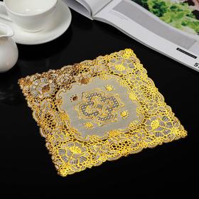 Салфетка ажурная ПВХ 20×20 «Букет», цвет золото