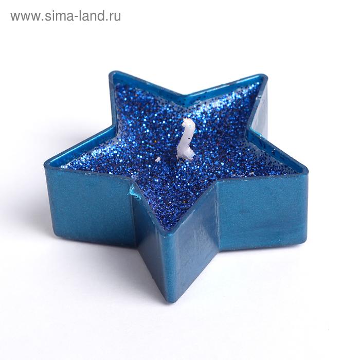 """Свеча в гильзе 1шт """"Звёздочка"""", синяя блёстка"""