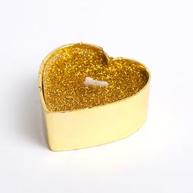Свеча в гильзе 1шт 'Сердце', золотая блёстка Ош