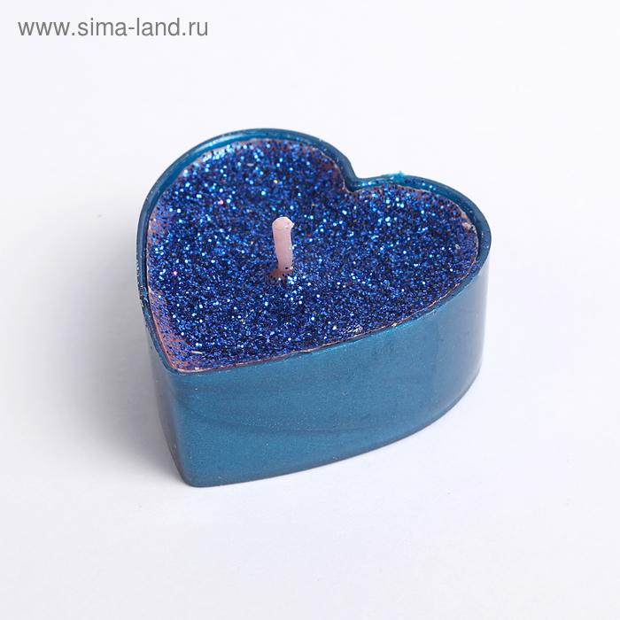 """Свеча в гильзе 1шт """"Сердце"""", синяя блёстка"""
