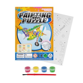 Раскраска-пазл 3D «Биплан», краски 4 цвета по 1,5 мл, кисть