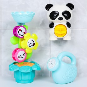 Игрушки для купания «Панда и цветок», 3 предмета, на присоске