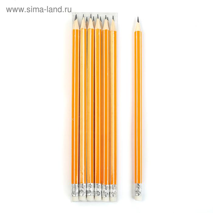 Карандаш чернографитный с ластиком, HB, корпус шестигранный, «Полоски», оранжево-белый, МИКС