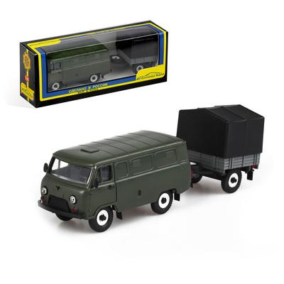 Машинка УАЗ-3741 тент с прицепом, масштаб 1:43