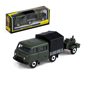 Машинка УАЗ-39094 с прицепом «Кухня», масштаб 1:43, цвет МИКС