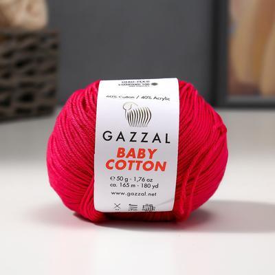 "Пряжа ""Baby Cotton"" 60% хлопок, 40% полиакрил 165м/50гр (3415 розовый) - Фото 1"