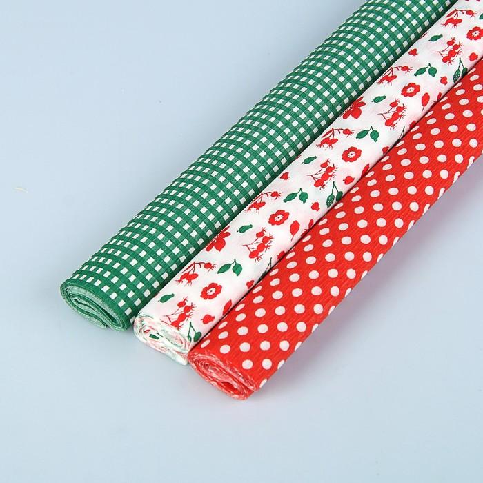 Бумага крепированная Redberry, 3 цвета микс, 32 г/м², 50 x 200 см, цена указана за 1 лист