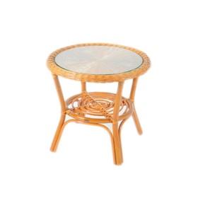 Стол со стеклом, 54 × 54 × 50 см, цвет коньячный, 02/08A