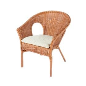 Кресло, 60 × 60 × 79 см, с подушкой, ротанг, цвет коньячный, 02/08В