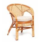Кресло, 66 × 66 × 77 см, с подушкой, ротанг, цвет коньячный, 02/15B
