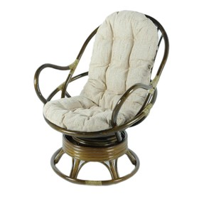 Кресло вращающееся, с подушкой, ротанг, цвет оливковый, 05/01