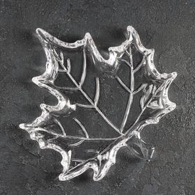 Блюдо фигурное «Кленовый лист», 21,5×19,5×2 см, цвет прозрачный
