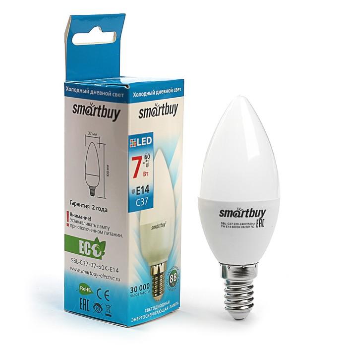 Лампа cветодиодная Smartbuy, C37, Е14, 7 Вт, 6000 К, холодный белый свет