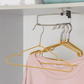 Вешалка-плечики для одежды детская с антискользящим покрытием, размер 30-34, цвет бронзовый