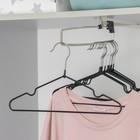 Вешалка-плечики для одежды детская с антискользящим покрытием, размер 30-34, цвет чёрный