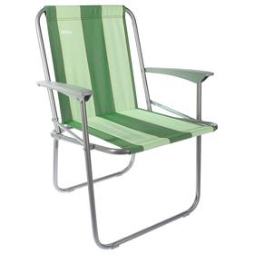 Кресло складное КС4, 57,5 х 61,5 х 74 см, зелёные полоски Ош
