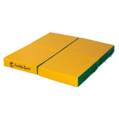 Мат PERFETTO SPORT, 100 х 100 х 10 см, складной, 4 сложения, зелёный/жёлтый
