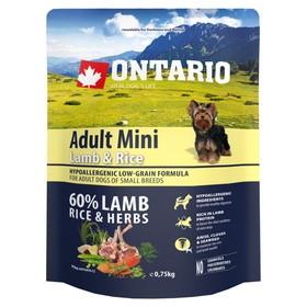 Сухой корм Ontario для собак малых пород, ягненок и рис, 750 г. Ош