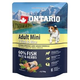 Сухой корм Ontario для собак малых пород, 7 видов рыбы и рис, 750 г. Ош