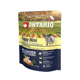 Сухой корм Ontario для щенков малых пород, курица и картофель, 750 г. Ош