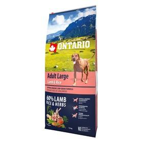 Сухой корм Ontario для собак крупных пород, ягненок, индейка и рис, 12 кг.
