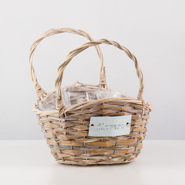 Кашпо «Цветы», сумочка, натуральное, 28х22х17/29 см