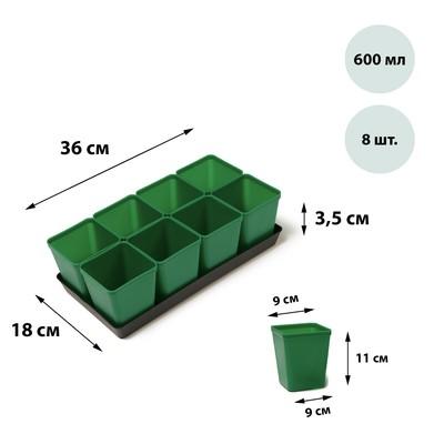 Набор для рассады: стаканы по 600 мл (8 шт.), поддон, цвет МИКС, Greengo