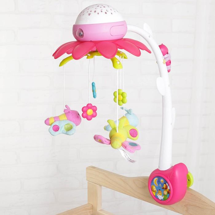 Мобиль музыкальный «Цветок-розовый», с ночником + пульт