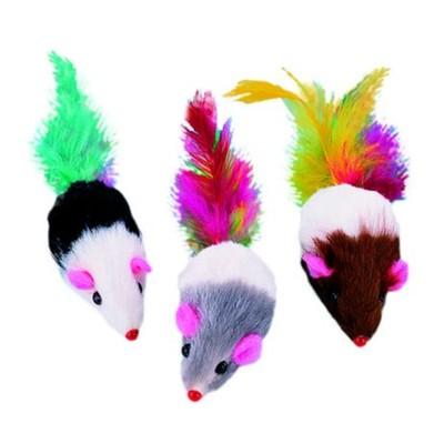 """Игрушка Nobby """"Мышка с перьями"""" для кошек, 5см, 4шт/уп"""