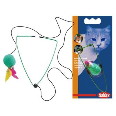 """Игрушка Nobby """"Мяч с перьями на резинке"""" для кошек, 7см"""