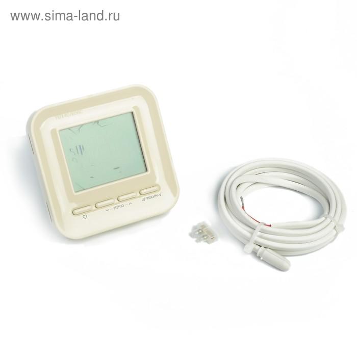 """Терморегулятор """"Теплолюкс"""" 520, программируеммый, 3500 Вт, 2 датчика, ЖК дисплей, кремовый"""