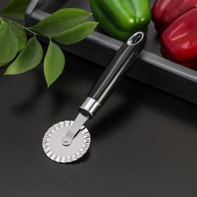 Нож для пиццы и теста Доляна «Скина», 20 см, ребристый, цвет чёрный
