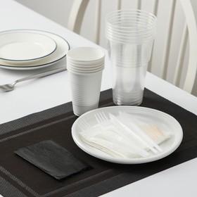 Набор одноразовой посуды «Шашлычный №1», 6 персон, цвет белый/чёрный
