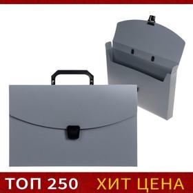 Папка-портфель А4, 1 отделение Calligrata, 700 мкм, песок, серая Ош