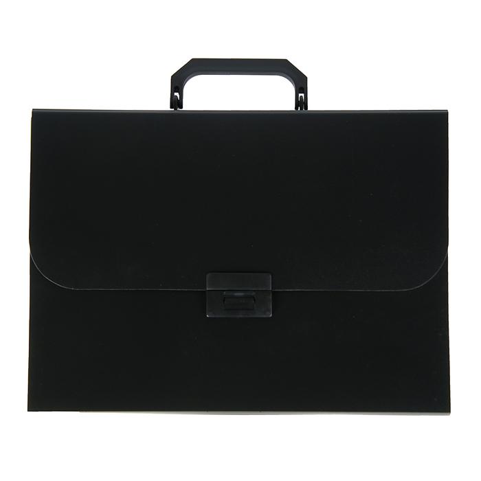 Папка-портфель А4, 7 отделений Calligrata, 700 мкм, песок, чёрная