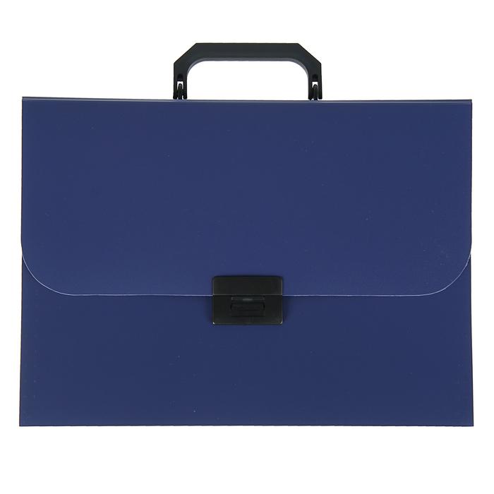 Папка-портфель А4, 7 отделений Calligrata, 700 мкм, песок, синяя