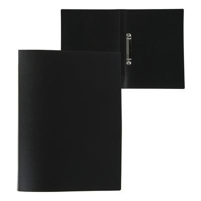 Папка на 2 кольцах А4 пластиковая, 18 мм, 500 мкм, Calligrata, торцевой карман, песок, чёрная