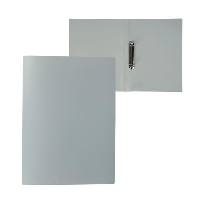 Папка на 2 кольцах А4 пластиковая, 18 мм, 500 мкм, Calligrata, песок, серая