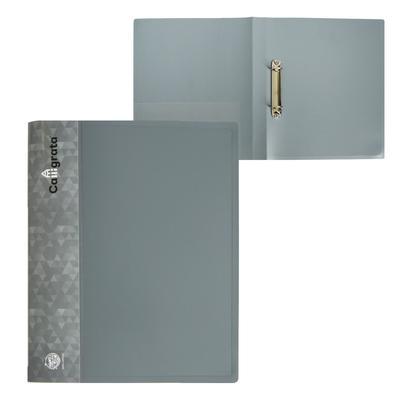Папка на 2 кольцах А4 пластиковая, 27 мм, 700 мкм, Calligrata, внутренний и торцевой карман, песок, серая