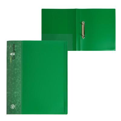 Папка на 2 кольцах А4 пластиковая, 27 мм, 700 мкм, Calligrata, внутренний и торцевой карман, песок, зелёная