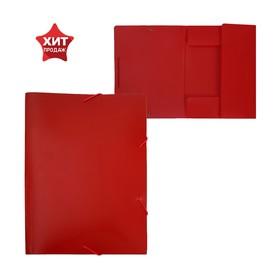 Папка на резинке А4, 500 мкм Calligrata, песок, красная Ош