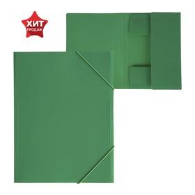 Папка на резинке А4, 500 мкм, Calligrata, песок, зелёная Ош