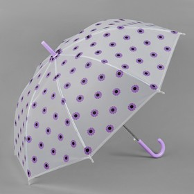Зонт - трость полуавтоматический «Ромашки», 8 спиц, R = 45 см, цвет сиреневый