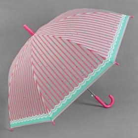 Зонт - трость полуавтоматический «Вишенки», 8 спиц, R = 46 см, цвет розовый Ош