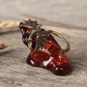 Сувенир из латуни и янтаря 'Дракон' Ош