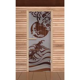 Дверь для бани и сауны 'Журавль' сатин, 6мм, УФ-печать, 190х70см, Добропаровъ Ош