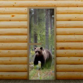 Дверь для бани и сауны 'Мишка в лесу', 190 х 70 см, с фотопечатью 6 мм Добропаровъ Ош