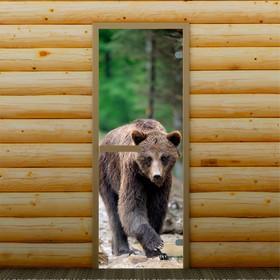 Дверь для бани и сауны стеклянная 'Бурый медведь', 190×70см, 6мм, с фотопечатью Ош