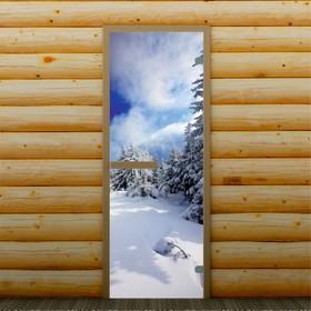 Дверь для бани и сауны 'Зимний пейзаж', 190 х 70 см, с фотопечатью 6 мм Добропаровъ Ош